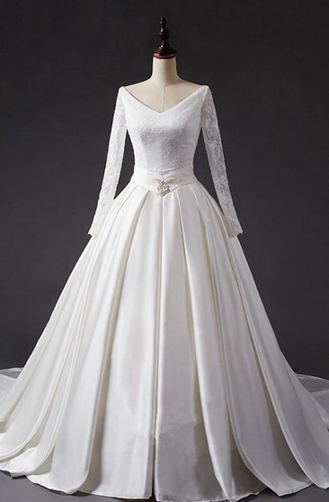 A-Line Ball Gown Tea-Length V-Neck Long Sleeve Beading Jacket Chiffon Tulle Lace Sequins Organza Satin Dress