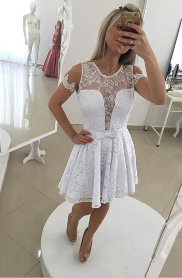 Modern Illusion White Short Cocktail Dress 2018 Lace Bowknot