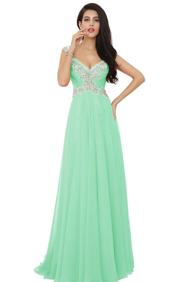 V-neck High-slit A-line Gown With Beaded Appliques