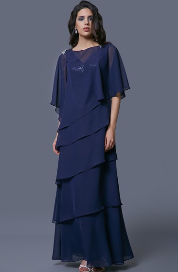 Delicate Tiered Chiffon Long Dress with Sequins and 3-4 Sleeve Jacket