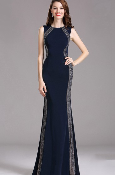 Sheath Bateau Sleeveless Jersey Beading Illusion Dress