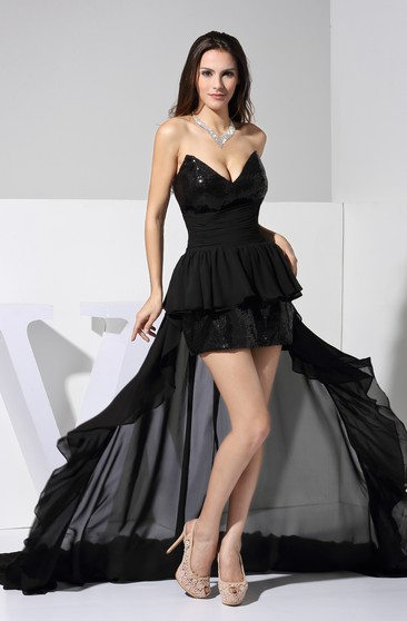 Strapless Sequined Short Dress With Ruched Waist