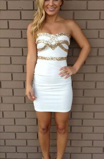 Sexy Strapless Sequined Short Cocktail Dress 2018 Bodycon Sleeveless Zipper