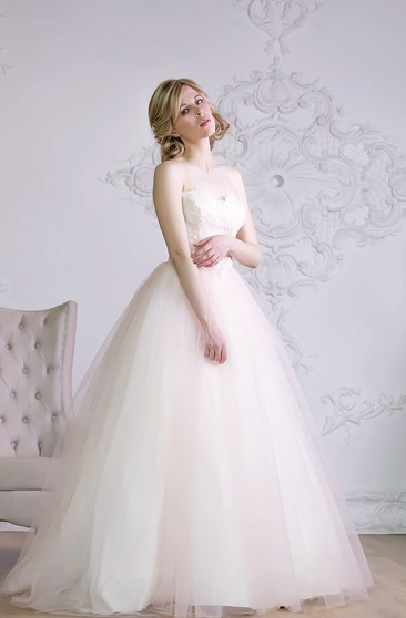 A-Line Floor-Length Sweetheart Sleeveless Lace-Up Organza Dress With Sash