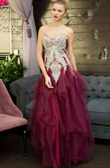 A-Line Floor-Length Sweetheart Sleeveless Tulle Ruffles Beading Lace-Up Dress