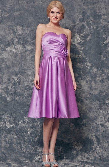 Strapless Backless A-line Knee Length Satin Dress With Flower