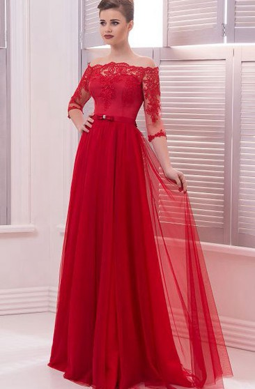A-Line Floor-Length Off-The-Shoulder 3 Tulle Lace Pleats Button Dress