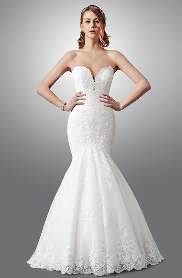 Charming Strapless Mermaid Lace Wedding Dress