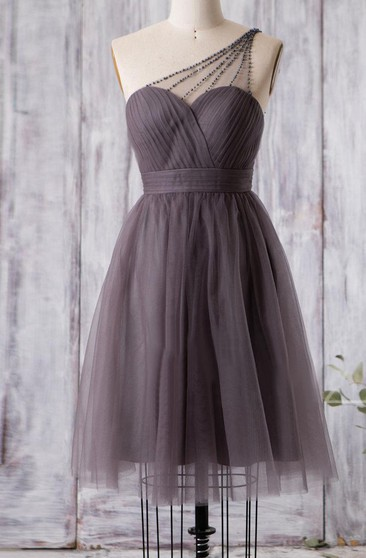 Beaded Single Strap Sweetheart A-line Pleated Tulle Knee Length Dress