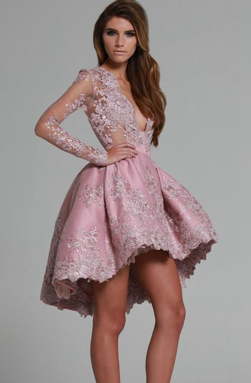 A Line Long Sleeves High Low Party Dresses With Lace Applique
