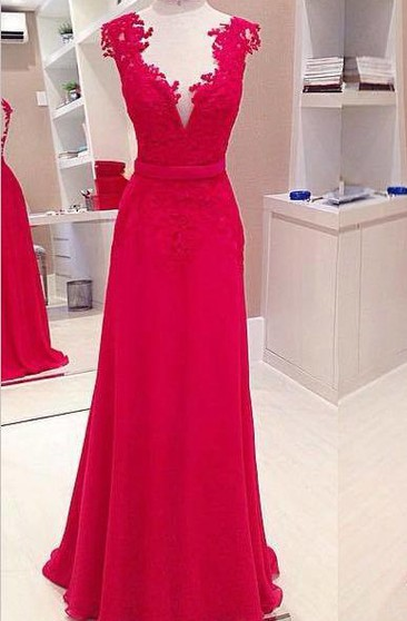 Sexy Red Deep V-Neck Prom Dresses Sleeveless Chiffon Evening Dresses With Bowknot