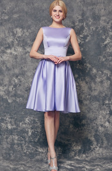 Bateau Neckline A-line Short Satin Dress With Pleats