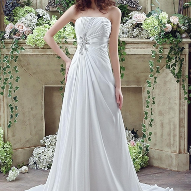 Newest Strapless White Beadings 2016 Wedding Dress A Line