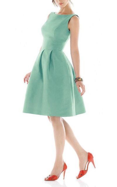 Vintage A-line Satin Short Dress