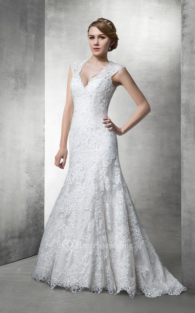 Fit and Flare Lace Wedding Gown With Plunging Neckline