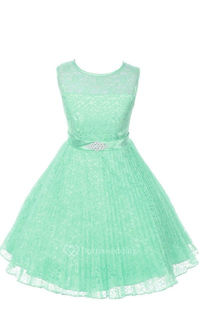 A-line Sleeveless Jewel Neck Lace Dress With Satin Belt