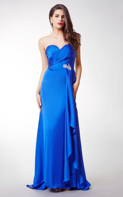 Long Sexy Brooched Satin Chiffon Dress