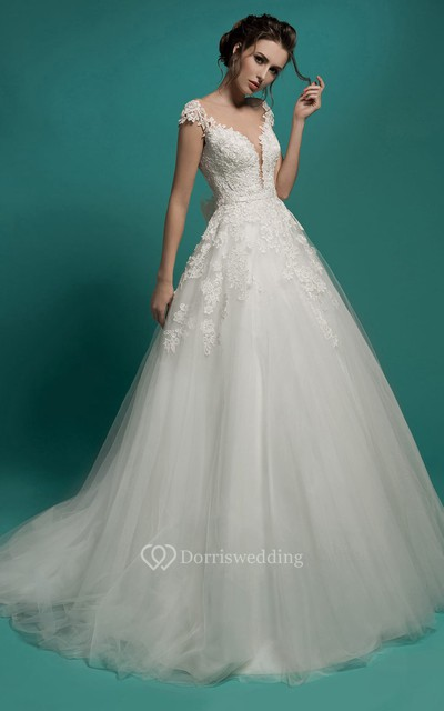 A line long v neck short sleeve illusion tulle dress with for Wedding dresses for small frames