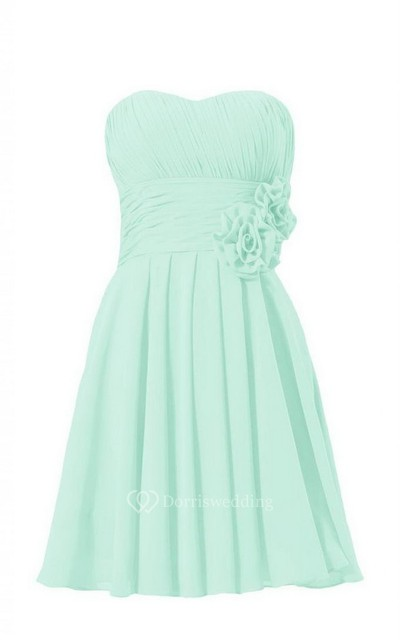 Sweetheart Pleated Chiffon A-line Gown With Floral Sash