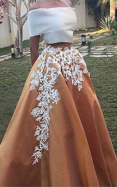 A-Line Off-the-Shoulder Cap Sleeves Appliques Long Prom Dress