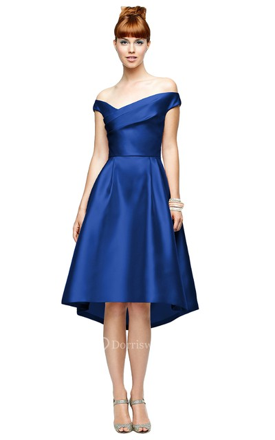 Knee-Length Chiarming Satin A-Line Dress