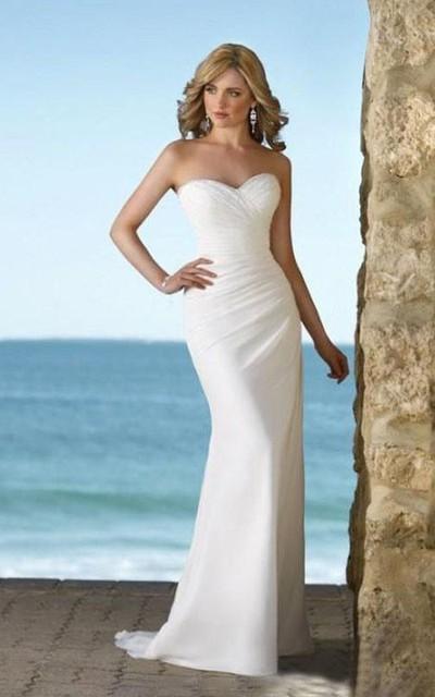 sheath Sweetheart Court Train Chiffon Wedding Dresses