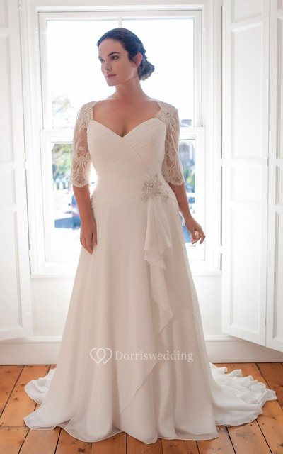 A-Line Floor-Length V-Neck Half Sleeve Chiffon Sweep Train Lace Dress