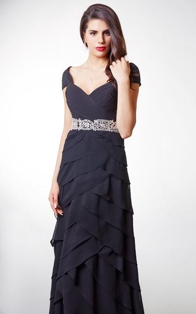 Short-sleeved Ruffled Chiffon A-line Long Formal Dress With Waistband