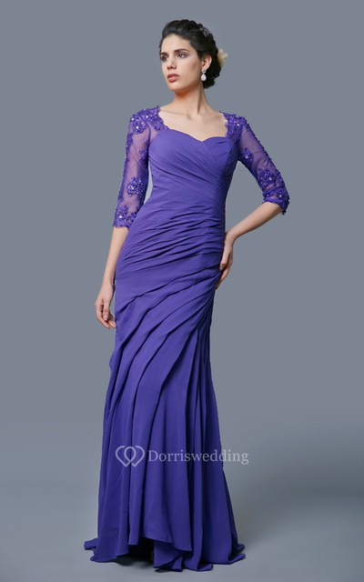 Classic A-line Long Formal Chiffon Dress With Lace Sleeves