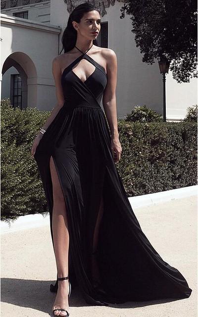 Chic Halter Chiffon 2016 Prom Dress Front Split Open Back