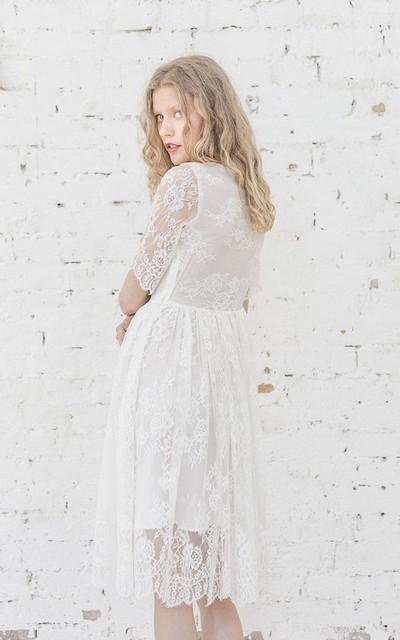 Half sleeve a line bateau neck lace dress with for Wedding dresses asymmetrical hemline