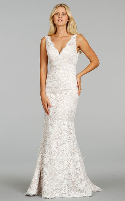 Classic Sleeveless V-Neck Floor Length Lace Dress