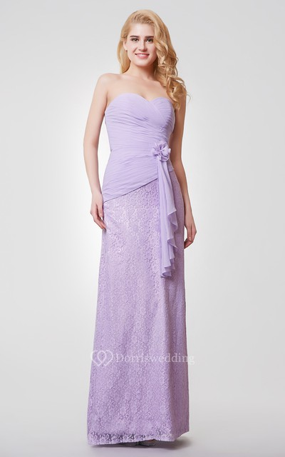 Sweetheart Backless Floral Long Chiffon and Lace Dress