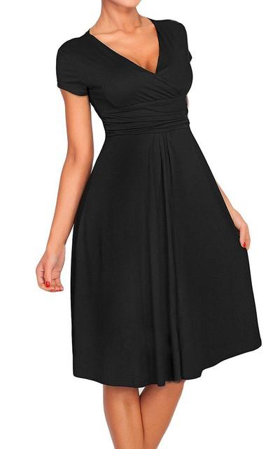 Short-sleeved V-neck A-line Ruched Chiffon Dress