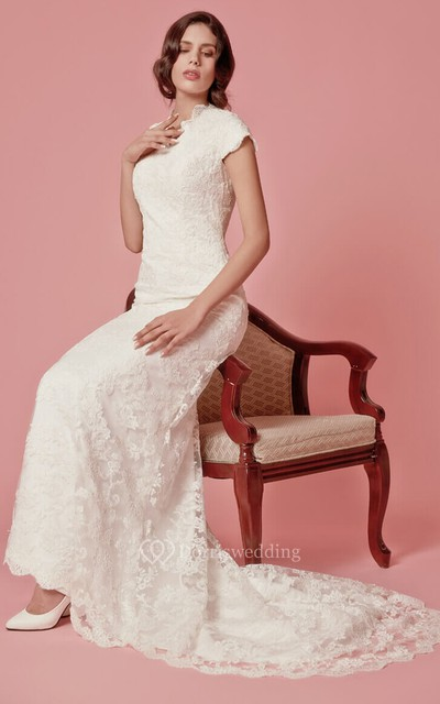 Lace Wedding Dresses Under 400 : Scallooped edge neckline column lace bridal gown dorris wedding