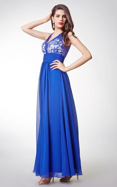 Stylish Sleeveless Long Chiffon Dress with Lace-embellished Bodice and Illusion Back - 1