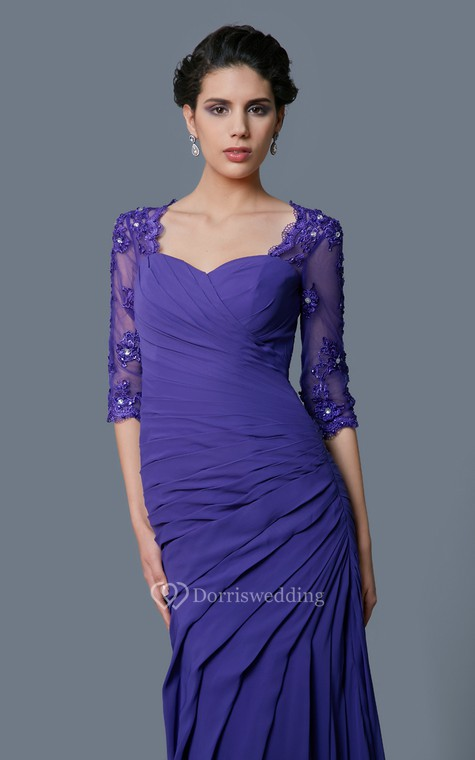 Classic A-line Long Formal Chiffon Dress With Lace Sleeves - 4