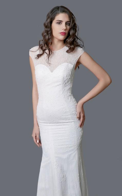 Ethereal Cap Sleeve Long Lace Sheath Dress - 4