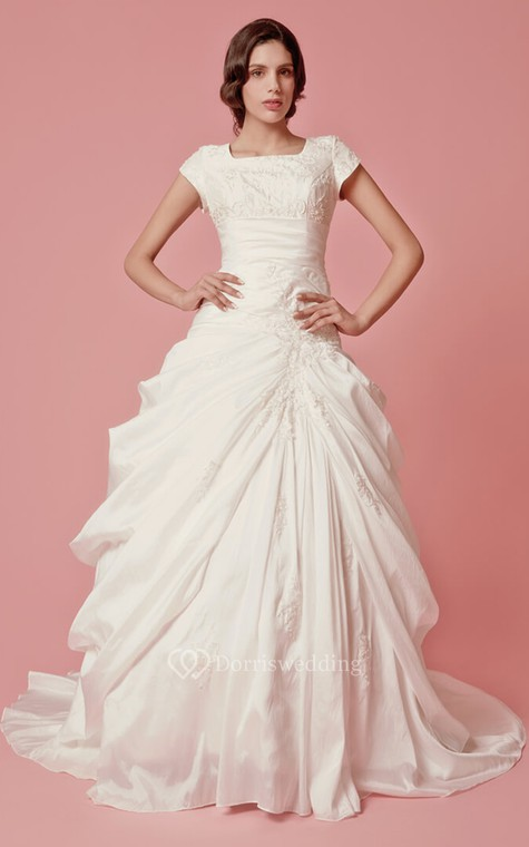 Romantic Pick-up A-line Taffeta Gown With Embroidered Neckline - 1