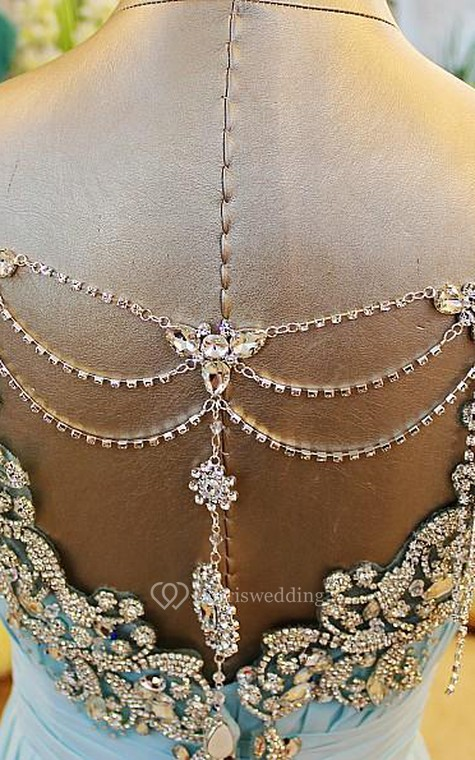 A-Line Backless Blue Evening Dresses V-Neck Crystal Beading Blingbling Prom Gowns - 4