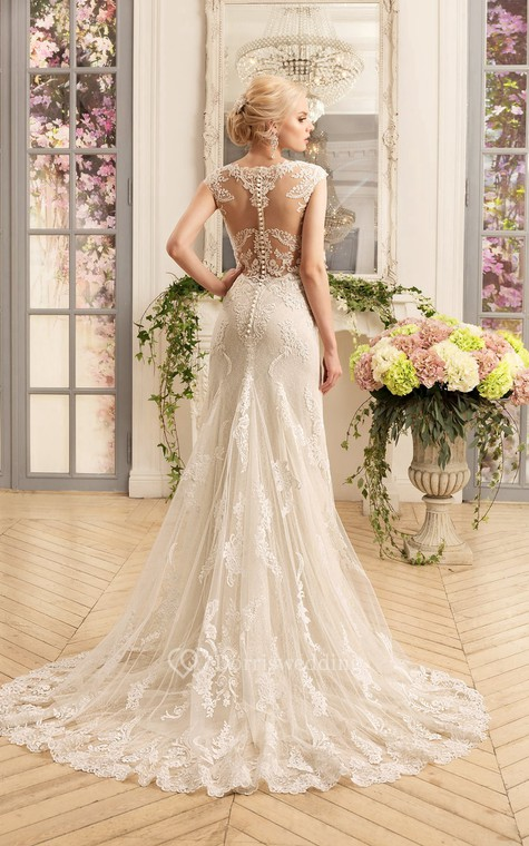 Sheath Floor-Length Scoop Cap-Sleeve Illusion Lace Dress With Appliques - 2