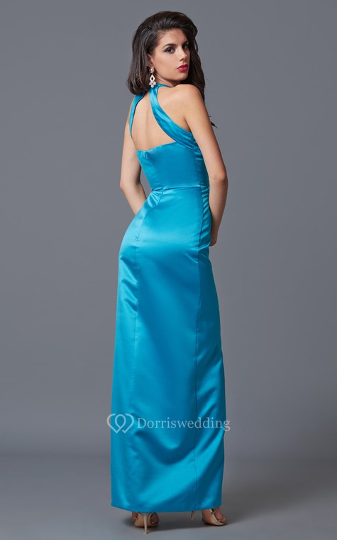 Feminine Sleeveless High Neck Sheath Satin Gown With Floral Beading - 3