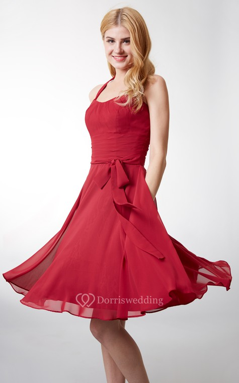 Elegant Halter Style Soft-pleated Layered A-line Chiffon Dress - 6