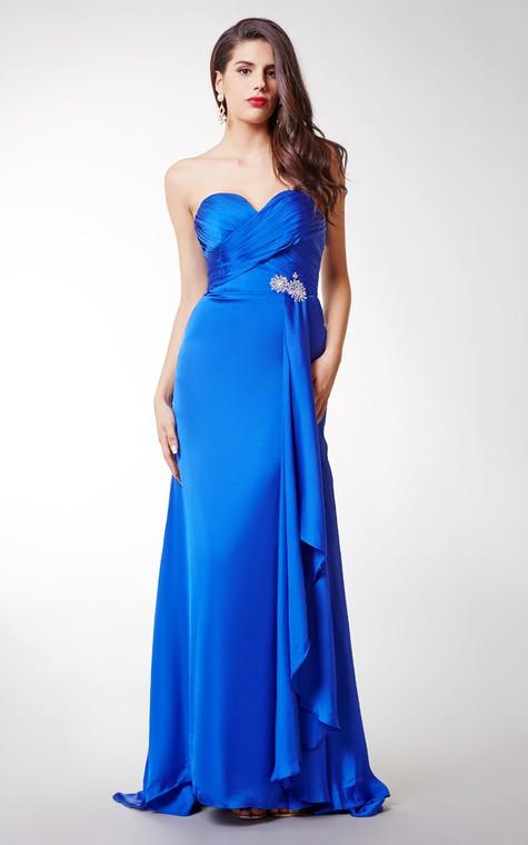 Long Sexy Brooched Satin Chiffon Dress - 1