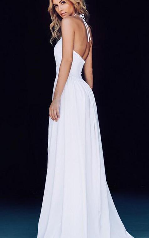 Chic Halter Chiffon 2016 Prom Dress Front Split Open Back - 3