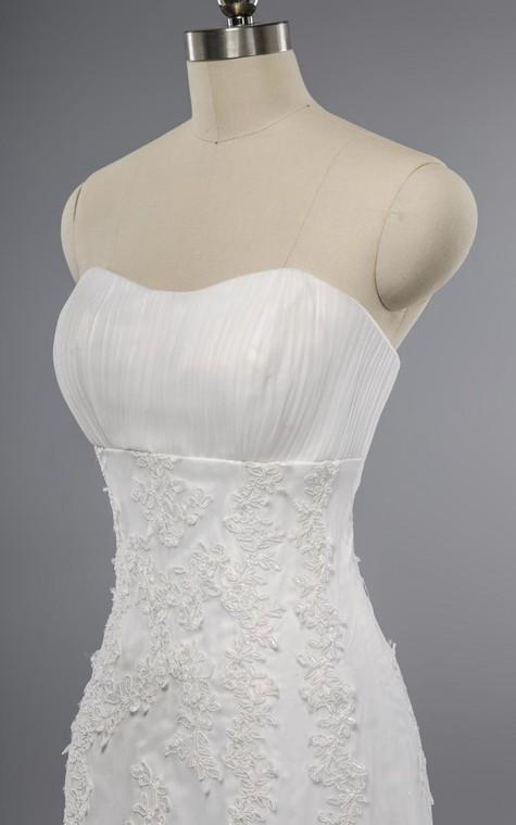 Mermaid Floor-Length Sweetheart Sleeveless Bell Appliques Zipper Keyhole Tulle Lace Dress - 4
