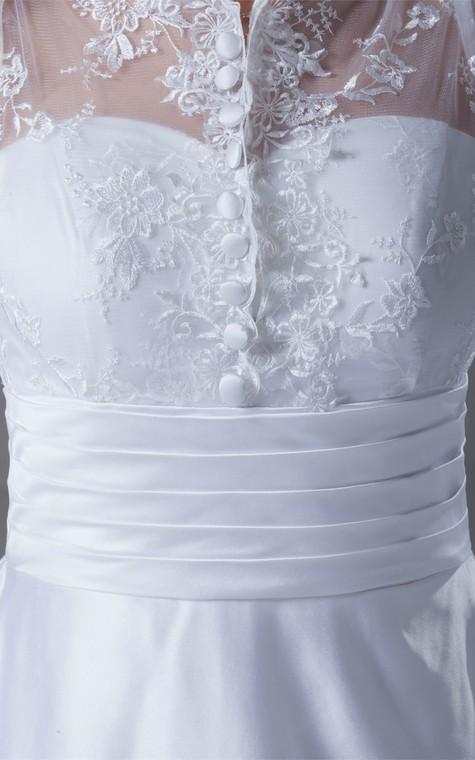 Exquisite Long Sleeve High Neck Satin Appliqued a Line Wedding Dresses - 5