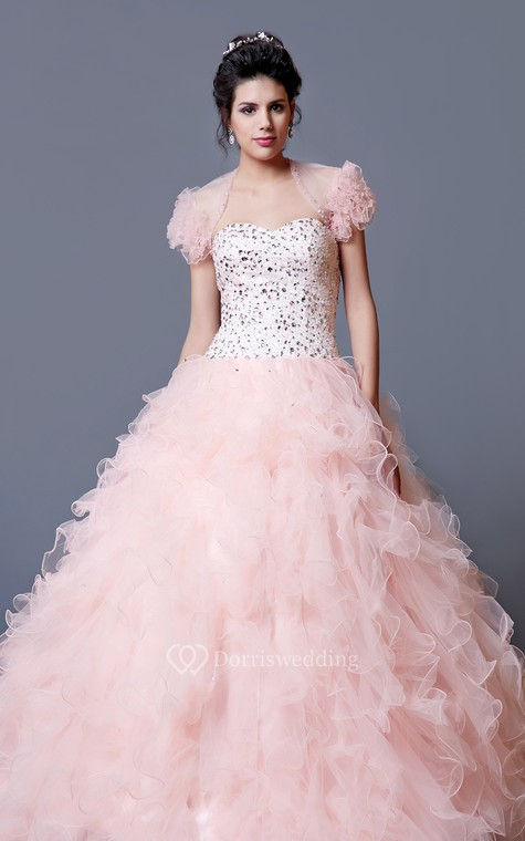 Elegant Crystal Ruffled Quinceanera Dress With Jacket - 1