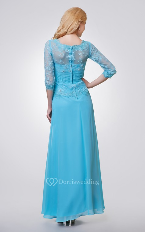 3-4 Length Sleeve Long Chiffon and Lace Dress With Side Draping - 3