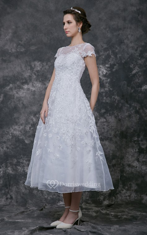 Modern Cap-sleeve Dress With Illusion Neckline and Beaded Lace Applique - 2